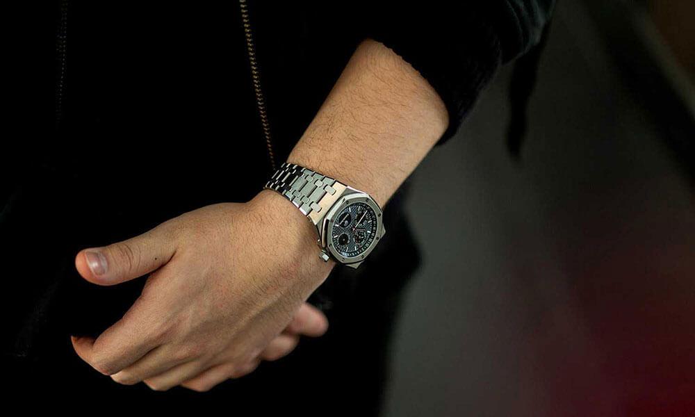 Audemars Piguet Titanium Royal Oak Perpetual Calendar x Horoloupe on wrist