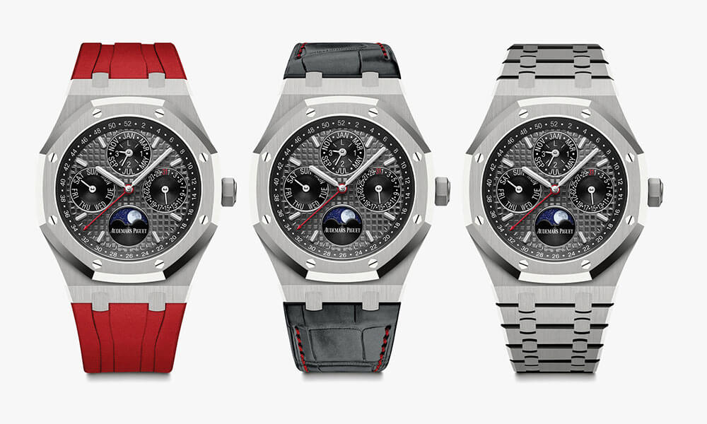 The 3 Audemars Piguet Titanium Royal Oak Perpetual Calendar wristband variations