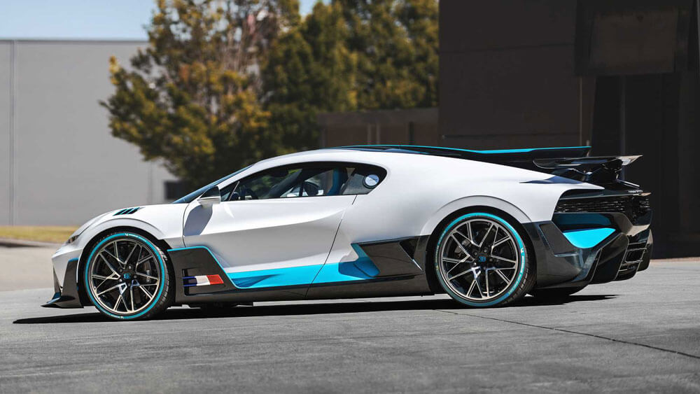 Bugatti Divo Light Grey French Side View