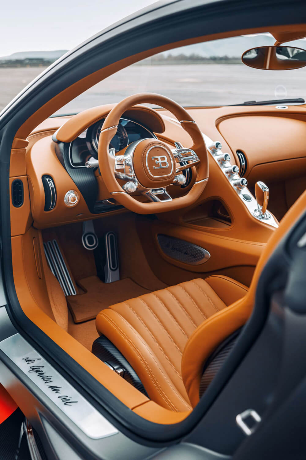 "Light brown Gaucho"" leather is used throughout the interiors. Credit: Bugatti"