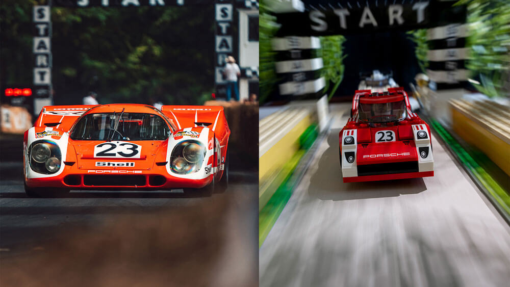 Lego Recreation of the Porsche 917K at the Goodwood starting line by automotive photographer Dominic Fraser