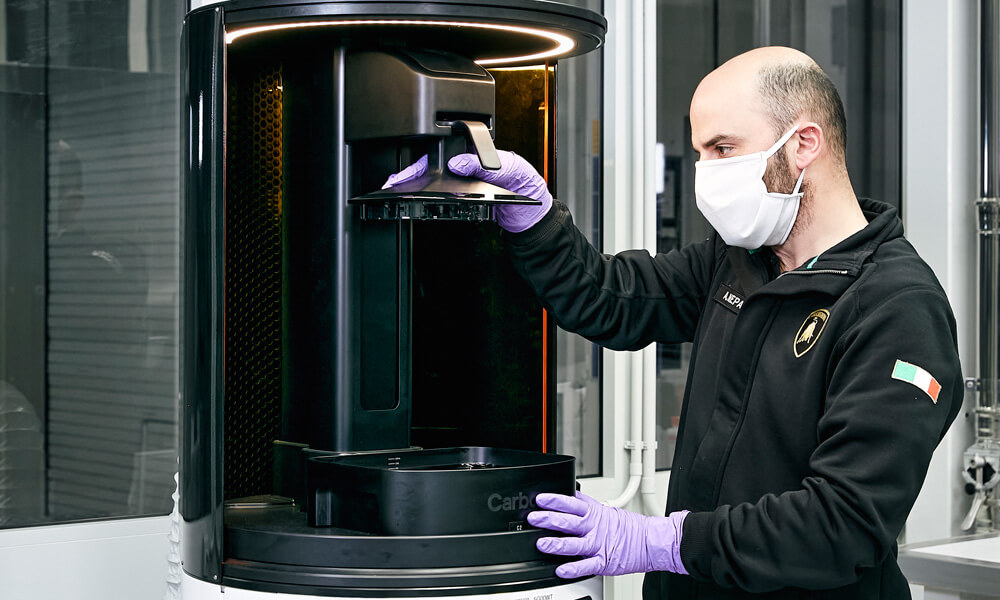 Lamborghini Use 3D Printer To Create Plexiglass Face Shields. Credit: Lamborghini