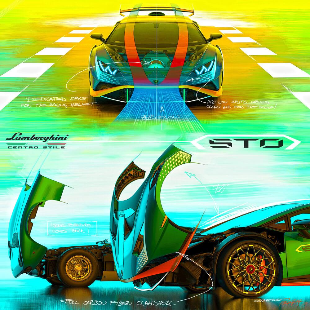 The carbon fiber clamshell cofango design. Credit: Lamborghini