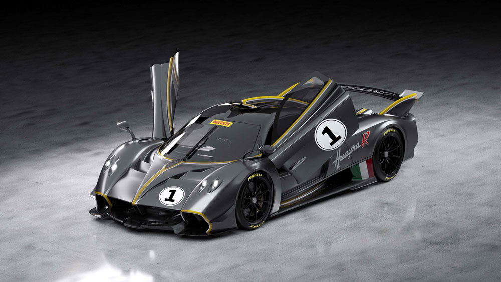 Pagani Huayra R Aerial Front Side View Doors Up