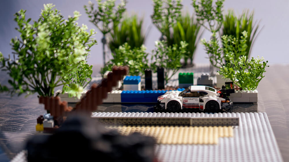Lego Porsche 911 RSR recreation by automotive photographer Dominic Fraser