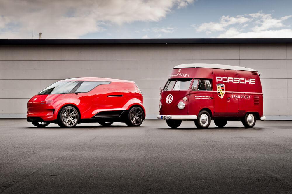 """The futuristic and family-friendly Porsche """"Renndienst"""" van. Credit: Porsche"""