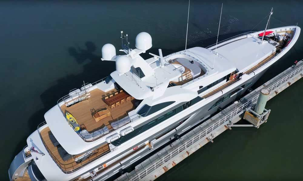 Aerial view of superyacht W built by Feadship post refit
