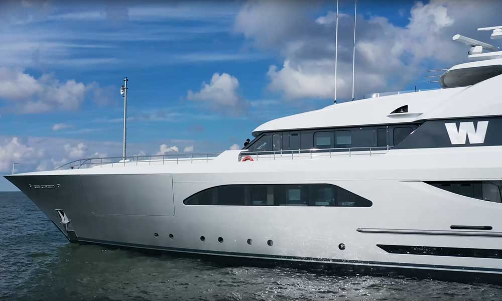 New silver livery of Superyacht W after refit by Feadship